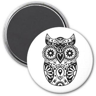 Sugar Skull Owl Black & White 3 Inch Round Magnet