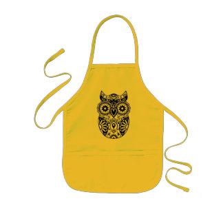 Sugar Skull Owl Black & White Kids Apron