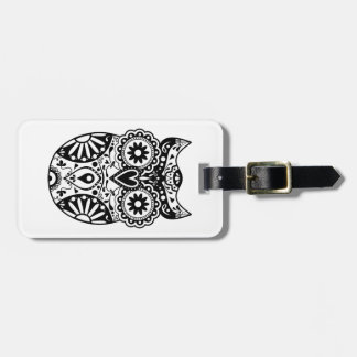Sugar Skull Owl Black & White Luggage Tag