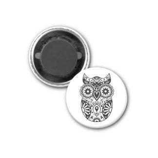 Sugar Skull Owl Black & White 1 Inch Round Magnet