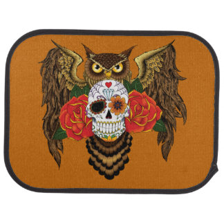 Sugar Skull Owl Car Mat