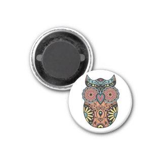 Sugar Skull Owl Color 1 Inch Round Magnet