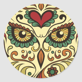 Sugar Skull Owl Head Classic Round Sticker