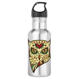 Sugar Skull Owl - Tattoo Design 532 Ml Water Bottle