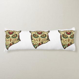 Sugar Skull Owl - Tattoo Design Body Pillow