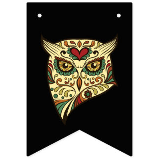 Sugar Skull Owl - Tattoo Design Bunting Flags