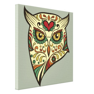 Sugar Skull Owl - Tattoo Design Canvas Print