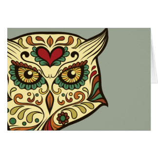 Sugar Skull Owl - Tattoo Design Card