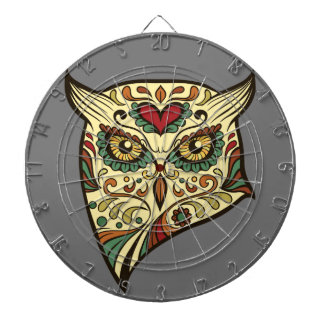 Sugar Skull Owl - Tattoo Design Dartboards