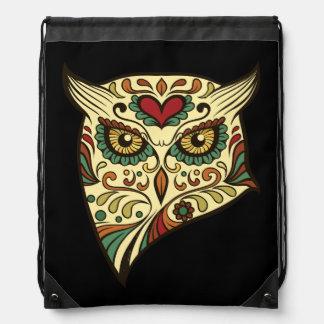 Sugar Skull Owl - Tattoo Design Drawstring Bag