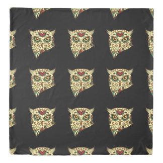 Sugar Skull Owl - Tattoo Design Duvet Cover