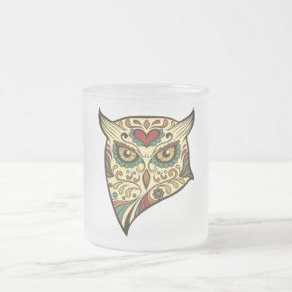 Sugar Skull Owl - Tattoo Design Frosted Glass Coffee Mug