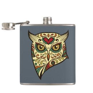 Sugar Skull Owl - Tattoo Design Hip Flask