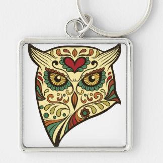 Sugar Skull Owl - Tattoo Design Keychain