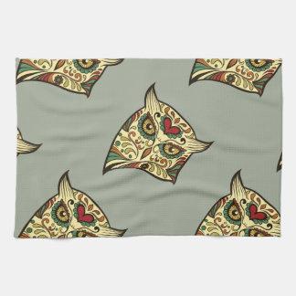 Sugar Skull Owl - Tattoo Design Kitchen Towel