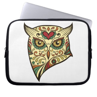 Sugar Skull Owl - Tattoo Design Laptop Sleeve