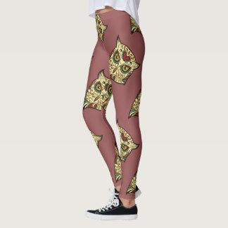 Sugar Skull Owl - Tattoo Design Leggings