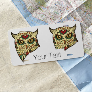 Sugar Skull Owl - Tattoo Design License Plate