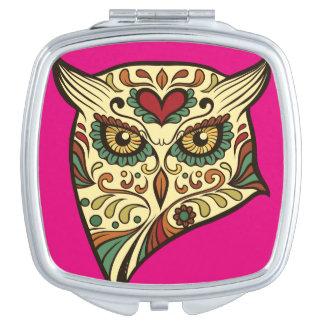 Sugar Skull Owl - Tattoo Design Mirror For Makeup