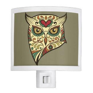 Sugar Skull Owl - Tattoo Design Nite Light