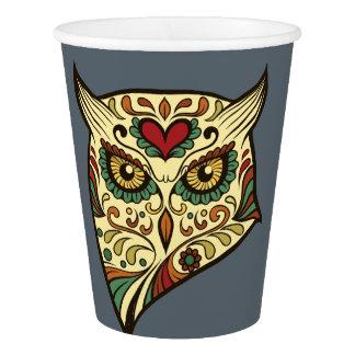 Sugar Skull Owl - Tattoo Design Paper Cup