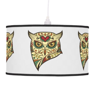 Sugar Skull Owl - Tattoo Design Pendant Lamp