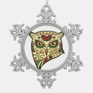 Sugar Skull Owl - Tattoo Design Pewter Snowflake Ornament