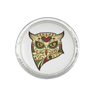 Sugar Skull Owl - Tattoo Design Photo Rings