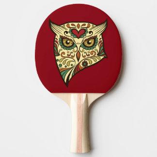 Sugar Skull Owl - Tattoo Design Ping Pong Paddle