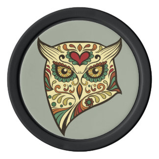Sugar Skull Owl - Tattoo Design Poker Chip Set
