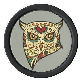 Sugar Skull Owl - Tattoo Design Poker Chips