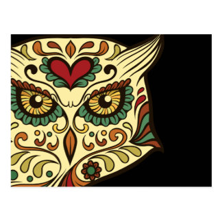 Sugar Skull Owl - Tattoo Design Postcard
