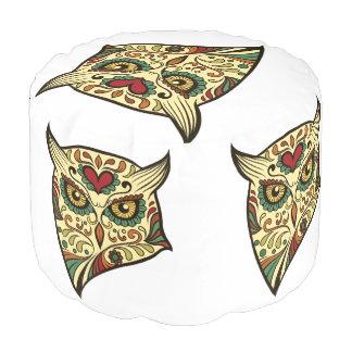 Sugar Skull Owl - Tattoo Design Pouf