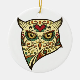 Sugar Skull Owl - Tattoo Design Round Ceramic Ornament