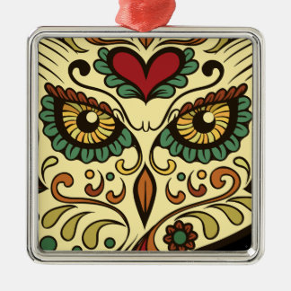 Sugar Skull Owl - Tattoo Design Silver-Colored Square Ornament