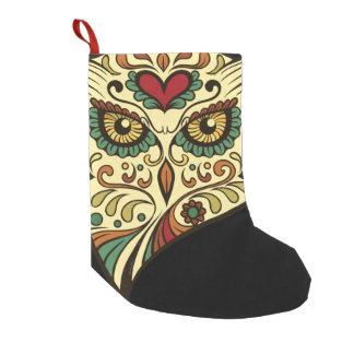Sugar Skull Owl - Tattoo Design Small Christmas Stocking