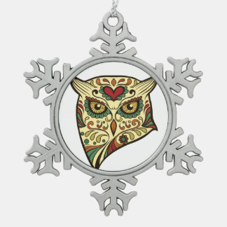 Sugar Skull Owl - Tattoo Design Snowflake Pewter Christmas Ornament