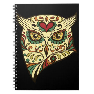 Sugar Skull Owl - Tattoo Design Spiral Notebook