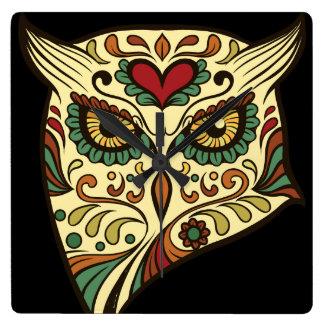 Sugar Skull Owl - Tattoo Design Square Wall Clock