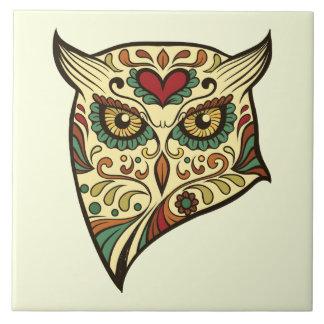 Sugar Skull Owl - Tattoo Design Tile