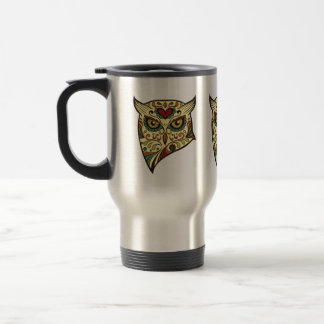 Sugar Skull Owl - Tattoo Design Travel Mug