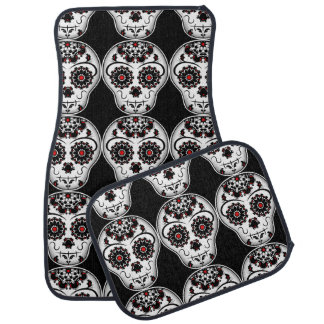 Sugar skull pattern car mat