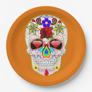 Sugar Skull Pattern Mexican Art Day of the Dead Paper Plate