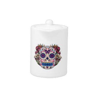 Sugar Skull Pink Roses Multi Colored Flowers