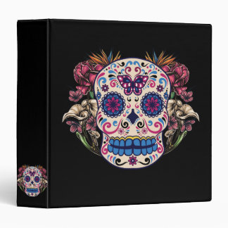 Sugar Skull Pink Roses Multi Colored Flowers 3 Ring Binders