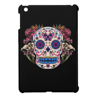 Sugar Skull Pink Roses Multi Colored Flowers iPad Mini Cases