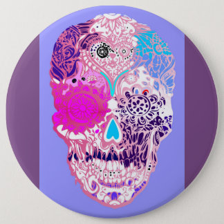 Sugar skull , Pink, sweet  skull with flowers 6 Inch Round Button