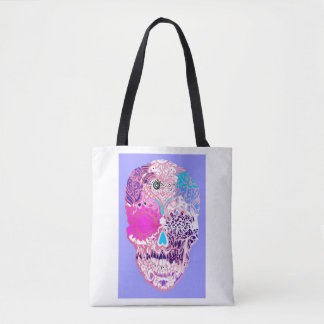 Sugar skull, Pink, sweet  skull with flowers No5 Tote Bag