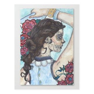 Sugar Skull postcard - Rosa