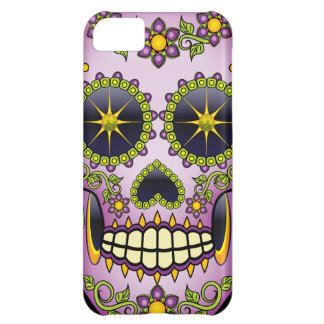 Sugar Skull Purple Floral Cover For iPhone 5C